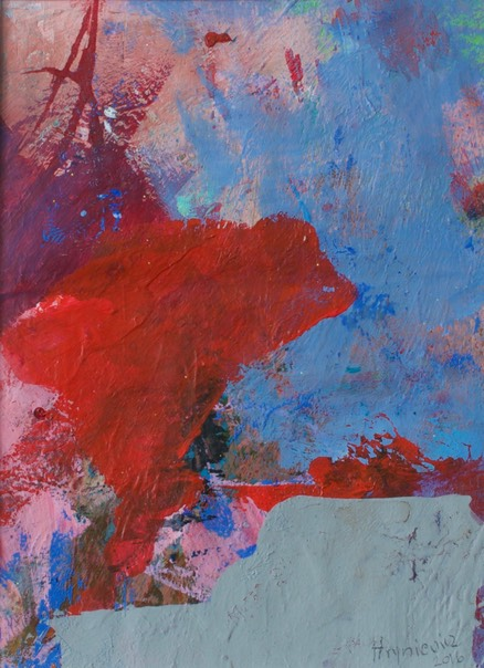 Anna Hryniewicz, Red on blue, acrylic on paper