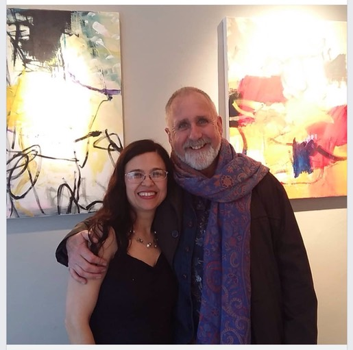 Anna Hryniewicz with Eamon Colman opening her exhibition in Ranelagh Arts Dublin